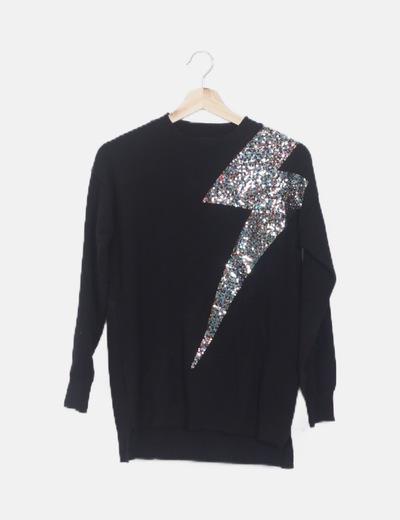 Jersey negro rayo glitter