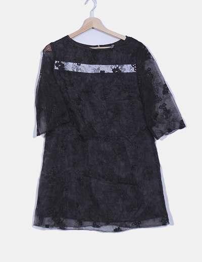 Vestido combinado organza negro Fashion House