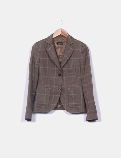 Blazer marrón texturizada de cuadros Massimo Dutti