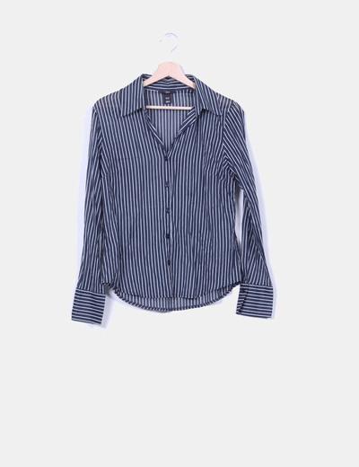 Camisa negra rayas blancas H&M