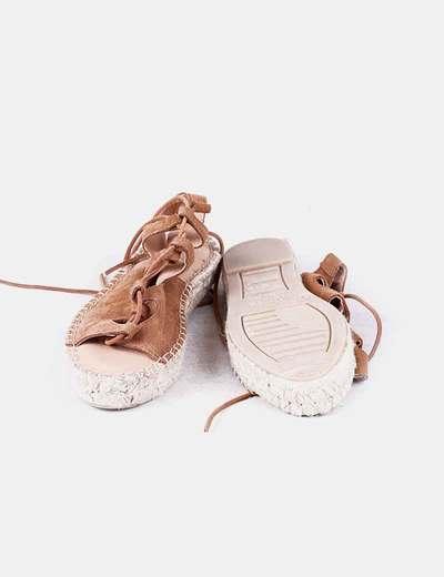 Sandalias ante camel lace up