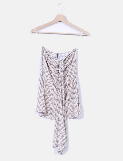 Top beige estampado cuello halter