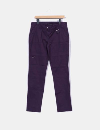 Pantalón morado pitillo texturizado Urban concept