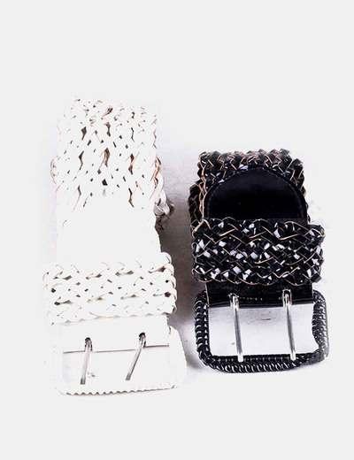 Pack 2 cinturones acharolados NoName