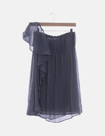 Vestido gasa gris con un tirante volante