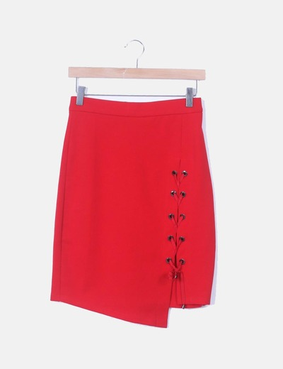 Falda lace up roja