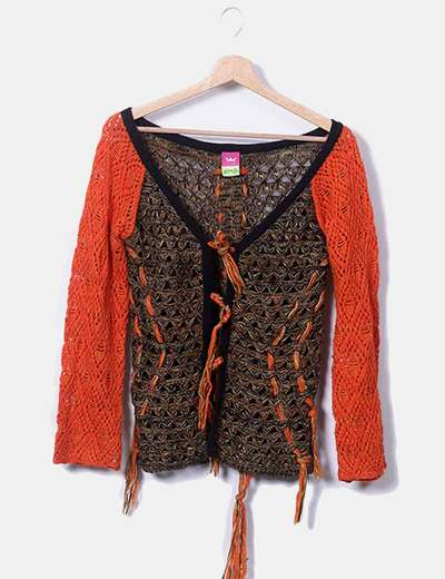 Chaqueta lana naranja combinada
