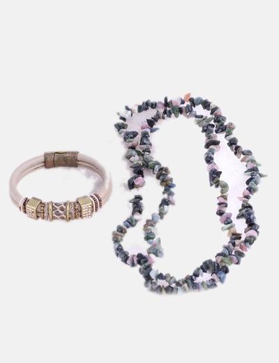 Conjunto de collar y pulsera con abalorios