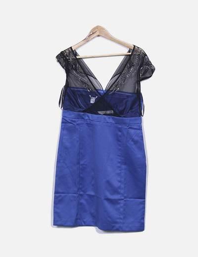 Vestido azul combinado com pailettes Suiteblanco