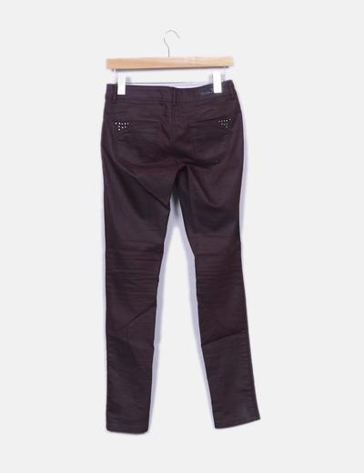 Jeans denim berenjena encerado