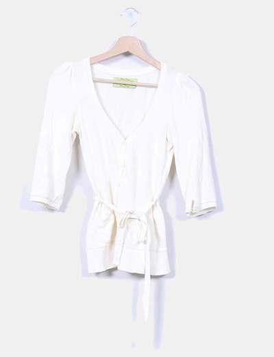 Chaqueta tricot beige con bosillos Zara
