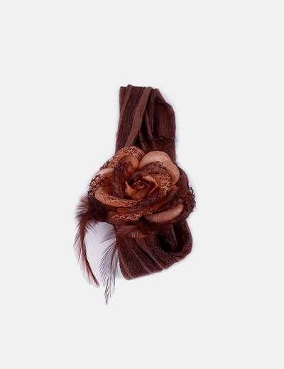 Bandana marrón detalle flor