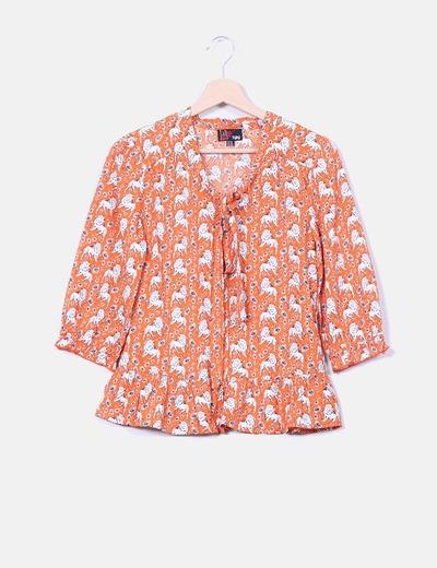 Blusa naranja print leones Yumi