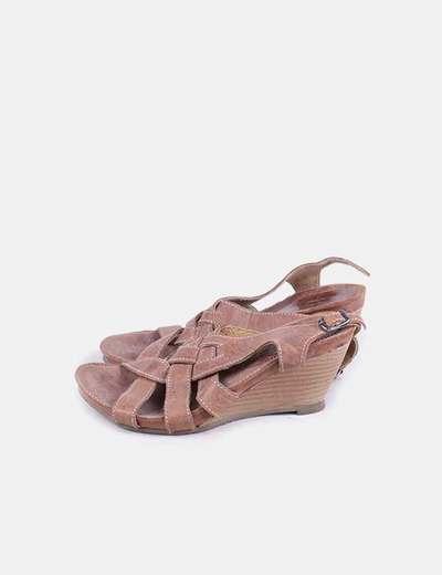 Sandalias cuña marrones