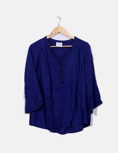 Blouse bleue col en v Vero Moda