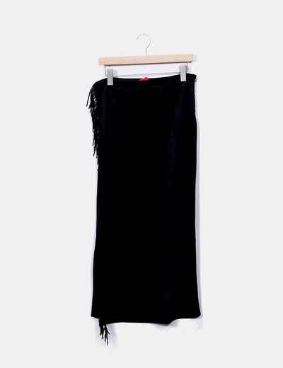 SINTY Gonna in camoscio nero con frange (sconto 65%) - Micolet b2cb4be863a