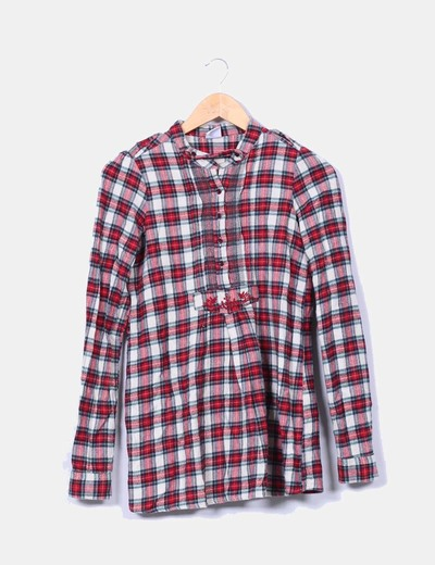 Vestido cuadros rojos manga larga Pull&Bear