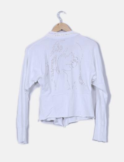 Chaqueta tricot blanca con tachas