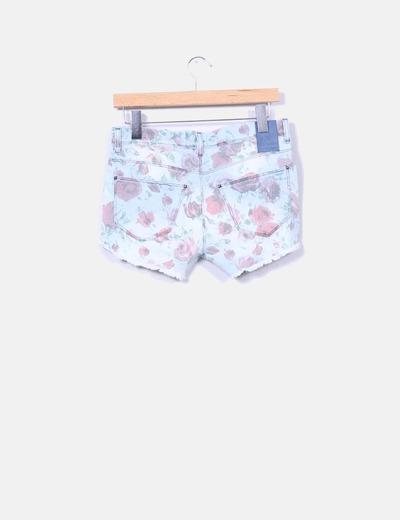 Shorts jeans estampado floral