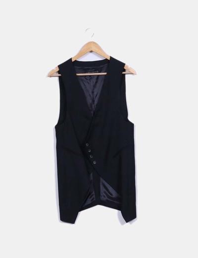 Chaleco largo traje negro Zara