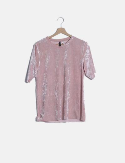 Camiseta larga terciopelo rosa