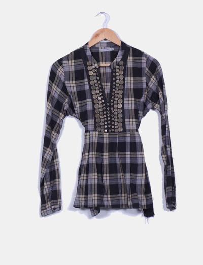 Camisa de cuadros con abalorios  Tex Woman