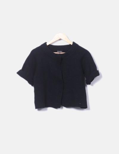 Chaqueta tricot negra  manga corta Massimo Dutti