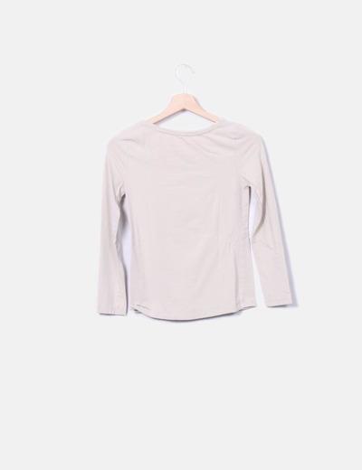nueva lanzamiento moda más deseable elegir despacho Camiseta beige manga larga