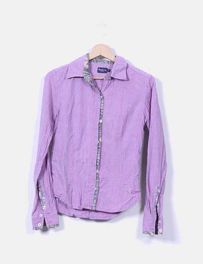Camisa morada rayas rosas manga larga Pepe Jeans