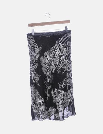 Falda negra fluida estampada