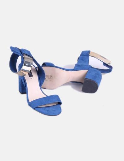 8725d0c8bb786 Zara Sandalias azules tobilleras con tacón (descuento 75%) - Micolet