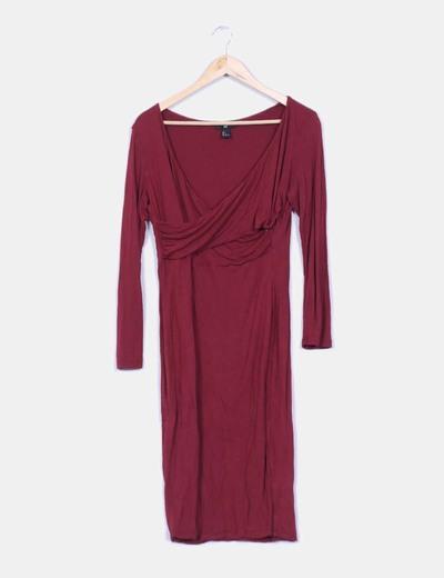 Vestido burdeos maxi escote cruzado H&M