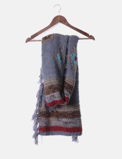 Maxi bufanda de punto combinada con flecos