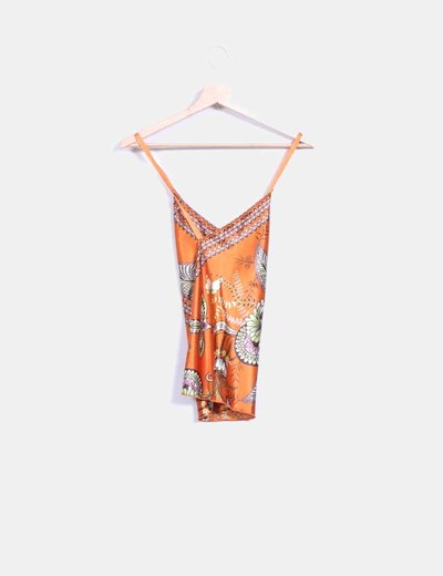 Top naranja satinado print
