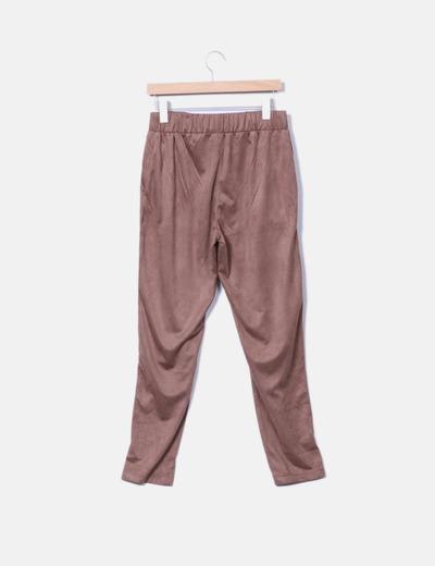 Pantalon baggy antelina camel