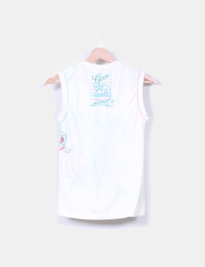 Camiseta beige print letras