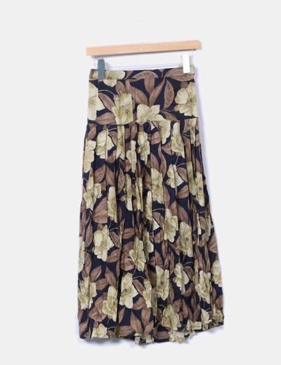 Maxi falda print hojas