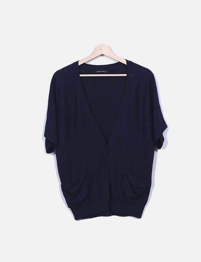 Louise Orop Cardigan bleu marine à manches courtes (réduction 88%) - Micolet 29eb01890057