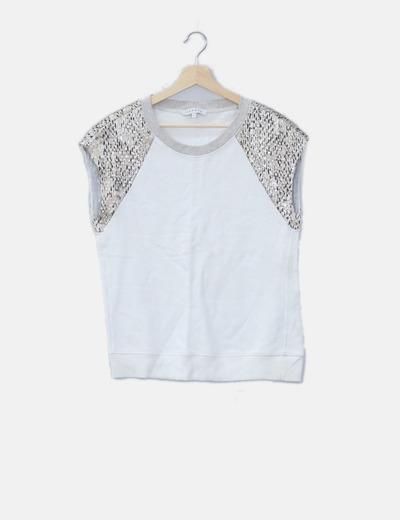 Jersey blanco sin mangas detalles glitter