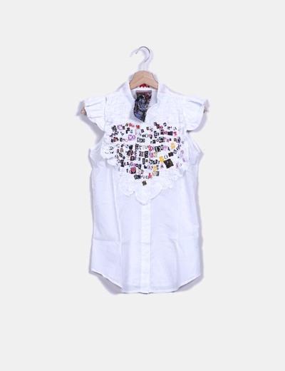 Chemise blanc décolleté sans manches avec imprimé Desigual