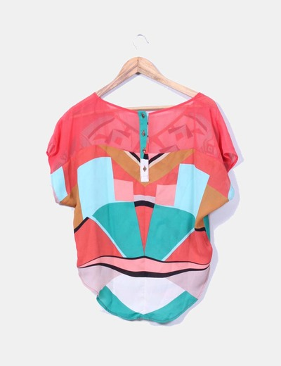 Blusa estampado multicolor oversize