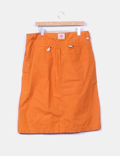 Falda midi naranja