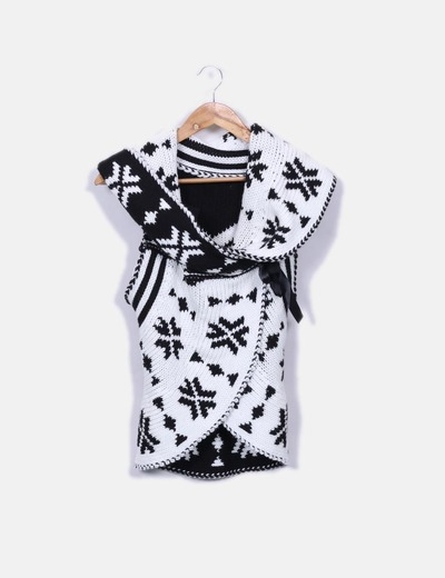 Chaleco lana blanco y negro
