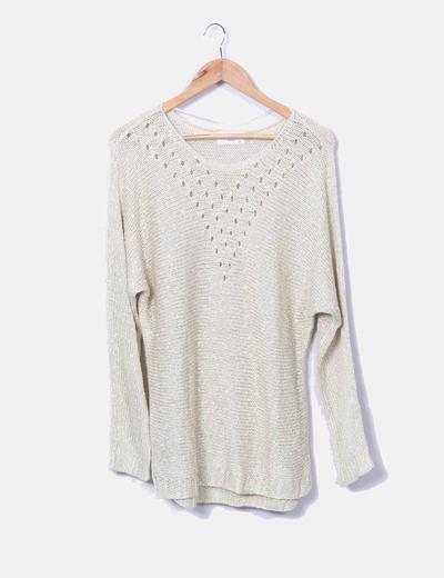 Beige and yellow knit sweater Vero Moda