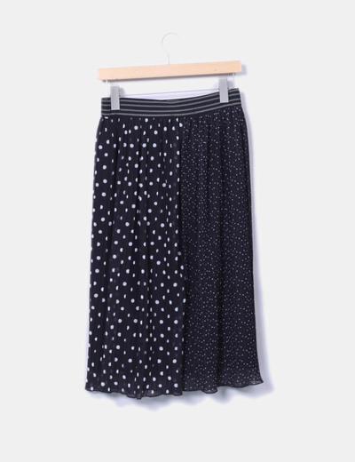 Falda midi negra topos blancos