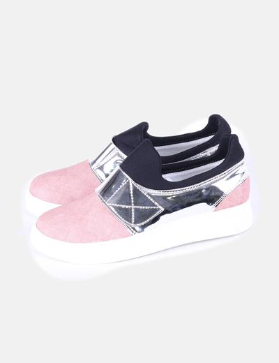 Zapato plano combinado tricolor BAPS