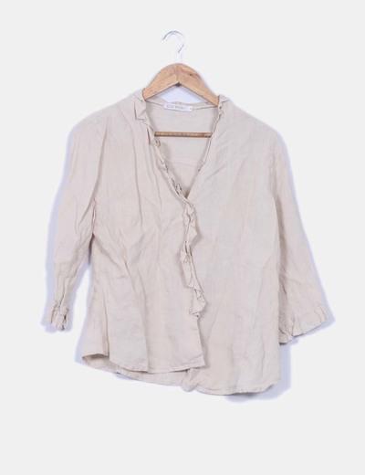 Blusa de lino beige  Elisa Rivero