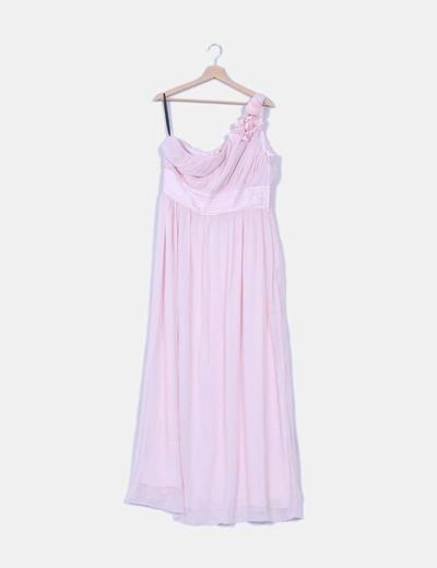 Maxivestido rosa de gasa detalle flor H&M