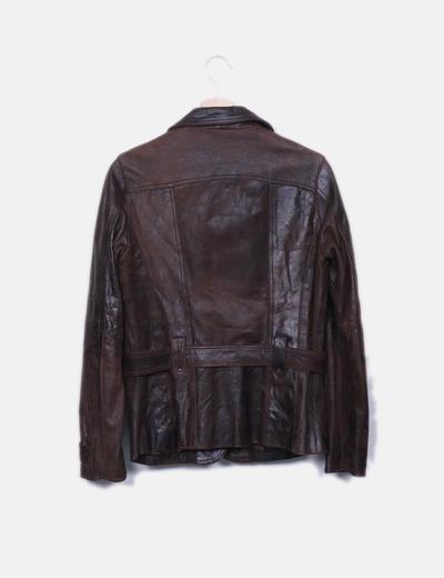 venta minorista 509b9 6921f Chaqueta de cuero marrón