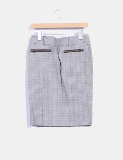Falda midi gris print cuadros Suiteblanco